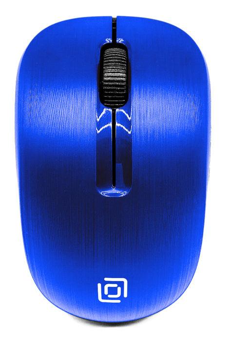 Мышь OKLICK 525MW, оптическая, беспроводная, USB, синий
