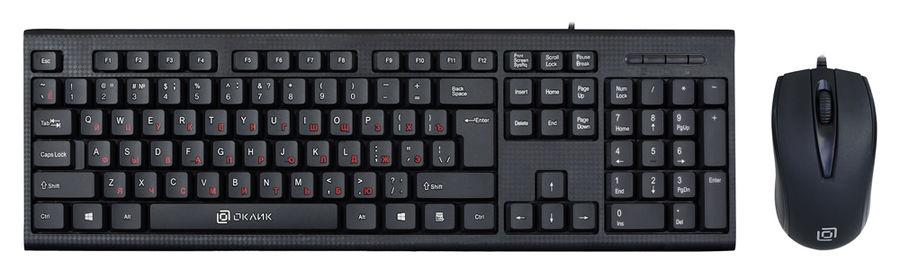 Комплект (клавиатура+мышь) OKLICK 630M, USB, проводной, черный