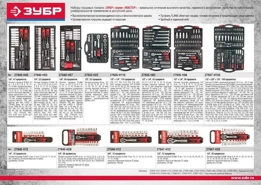 Набор инструментов ЗУБР 27640-H45,  45 предметов