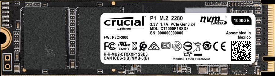 SSD накопитель CRUCIAL P1 CT1000P1SSD8 1Тб, M.2 2280, PCI-E x4,  NVMe