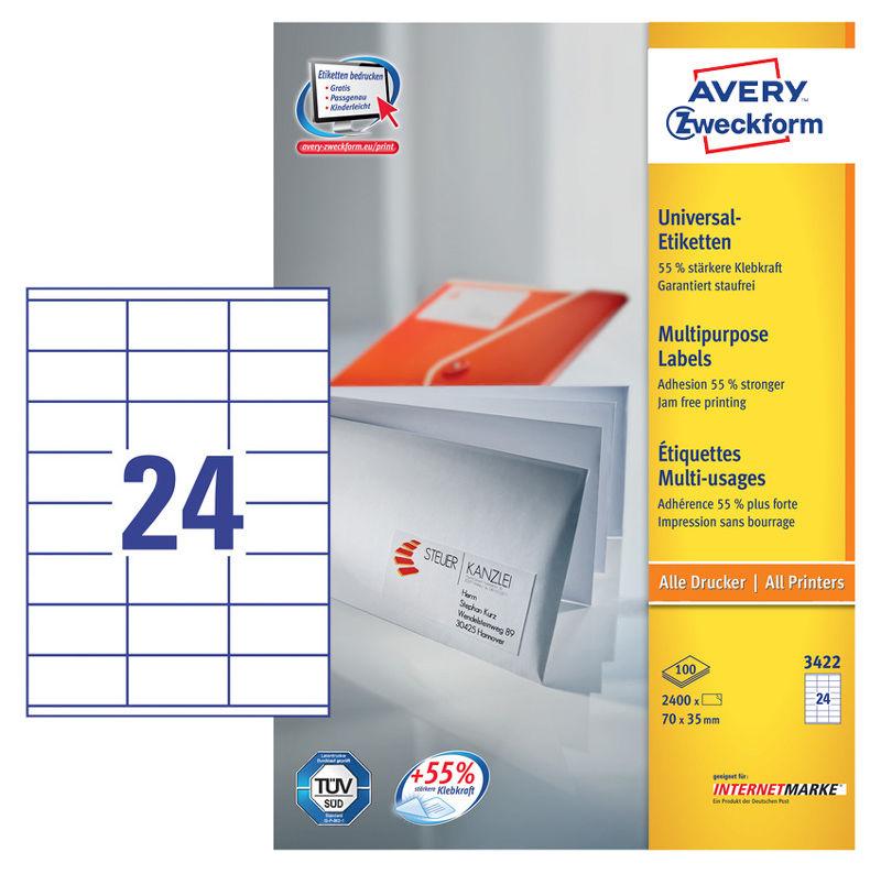 Этикетки Avery Zweckform 3422 A4 70x35мм 24шт на листе/70г/м2/100л./белый матовое самоклей. универса