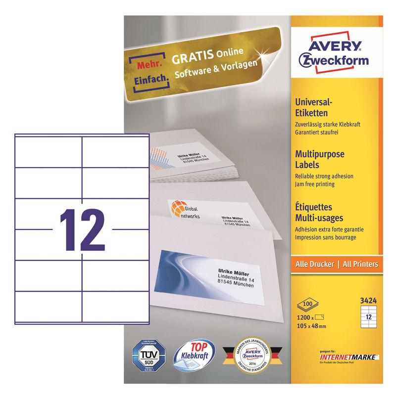Этикетки Avery Zweckform 3424 A4 105x48мм 12шт на листе/70г/м2/100л./белый матовое самоклей. универс