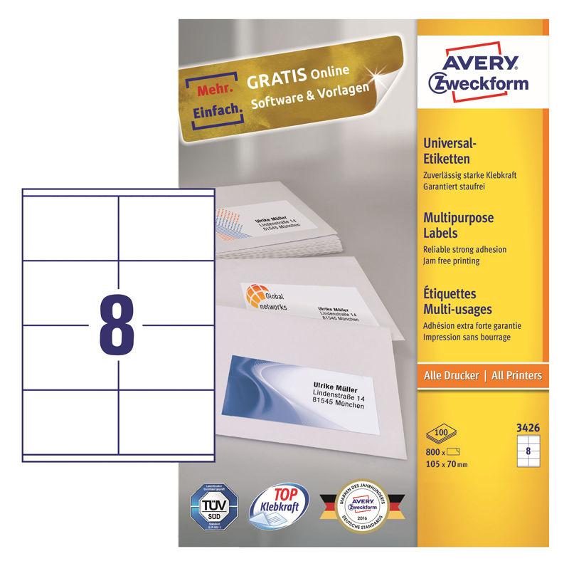 Этикетки Avery Zweckform 3426 A4 105x70мм 8шт на листе/70г/м2/100л./белый матовое самоклей. универса