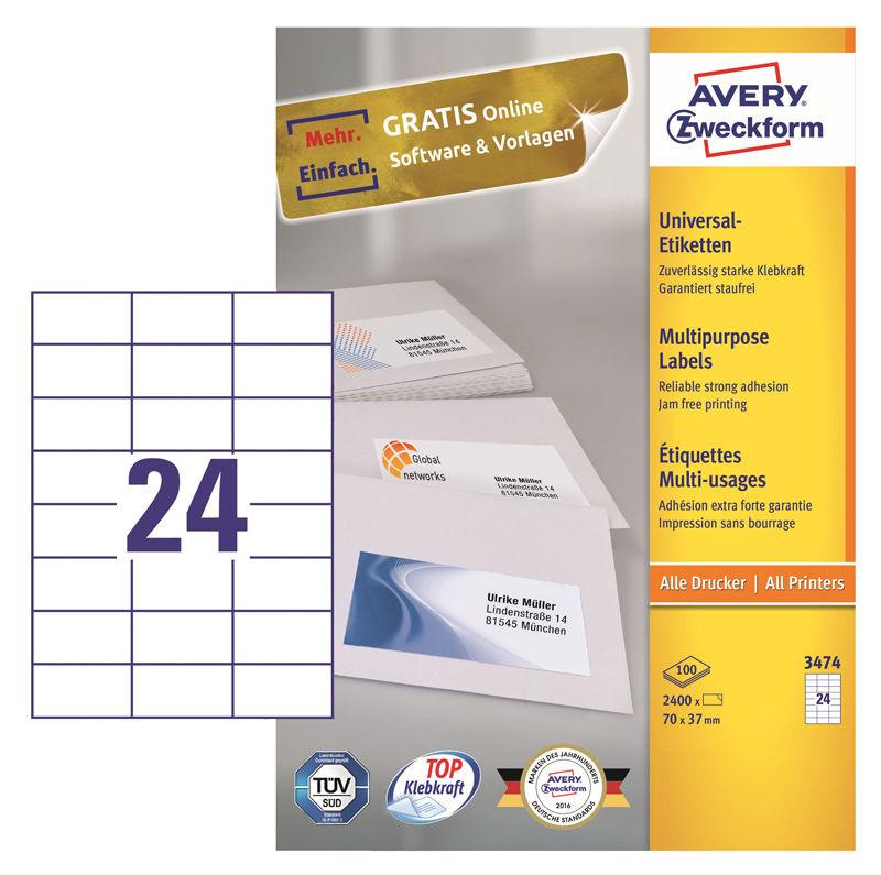 Этикетки Avery Zweckform 3474 A4 70x37мм 24шт на листе/70г/м2/100л./белый матовое самоклей. универса