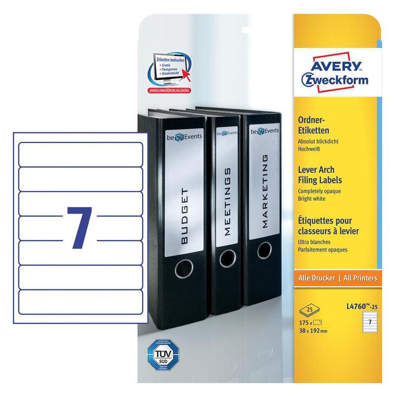 Этикетки Avery Zweckform L4760-25 A4 38x192мм 7шт на листе/80г/м2/25л./белый самоклей. универсальная