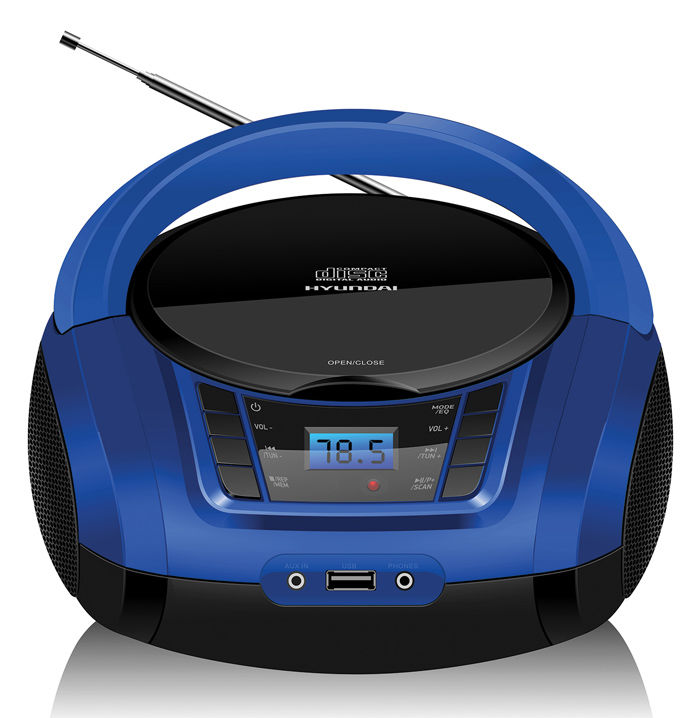 Аудиомагнитола HYUNDAI H-PCD340,  черный и синий