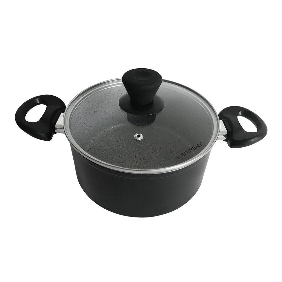 Кастрюля ENDEVER Stone-Grey-24С, 4.0л, с крышкой,  черный [80700]
