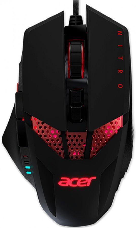 Мышь ACER Nitro NMW810 RGB, игровая, оптическая, проводная, USB, черный [np.mce11.00g]