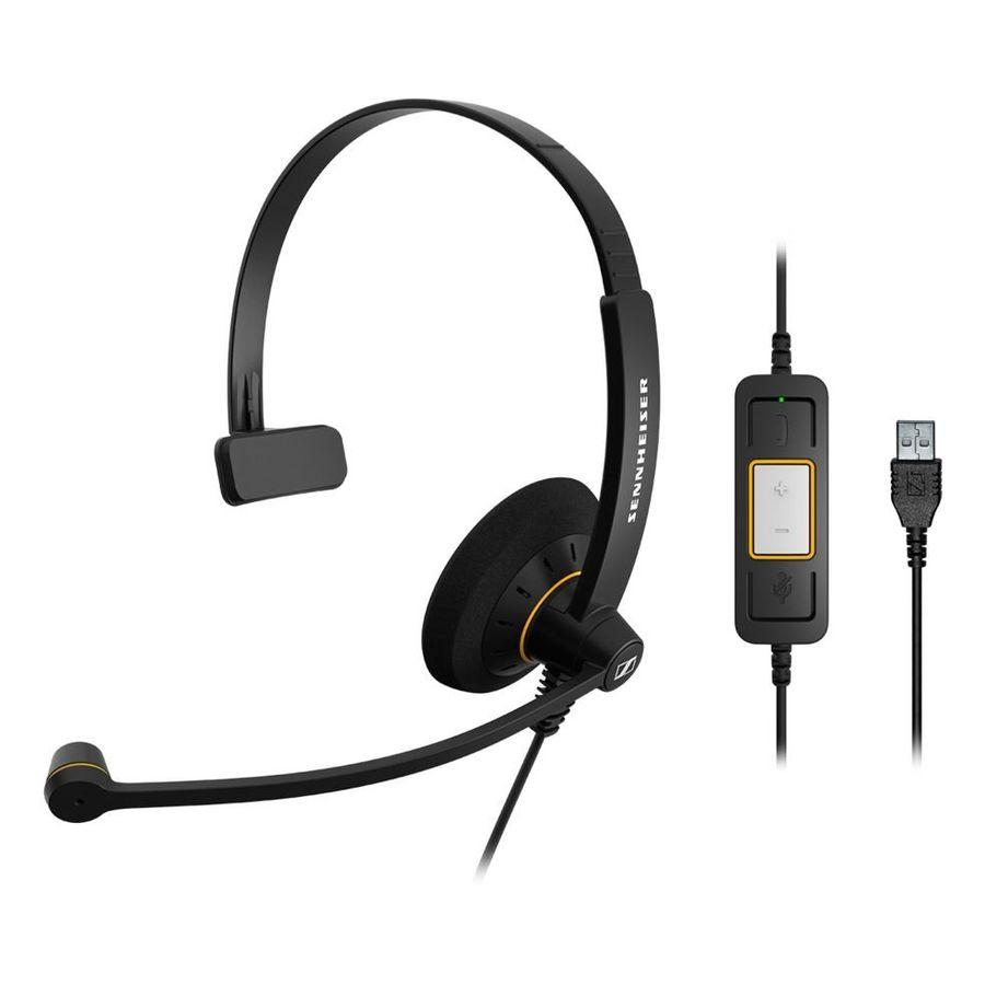 Гарнитура SENNHEISER SC 30 USB ML,  для контактных центров, накладные,  черный  [504546]