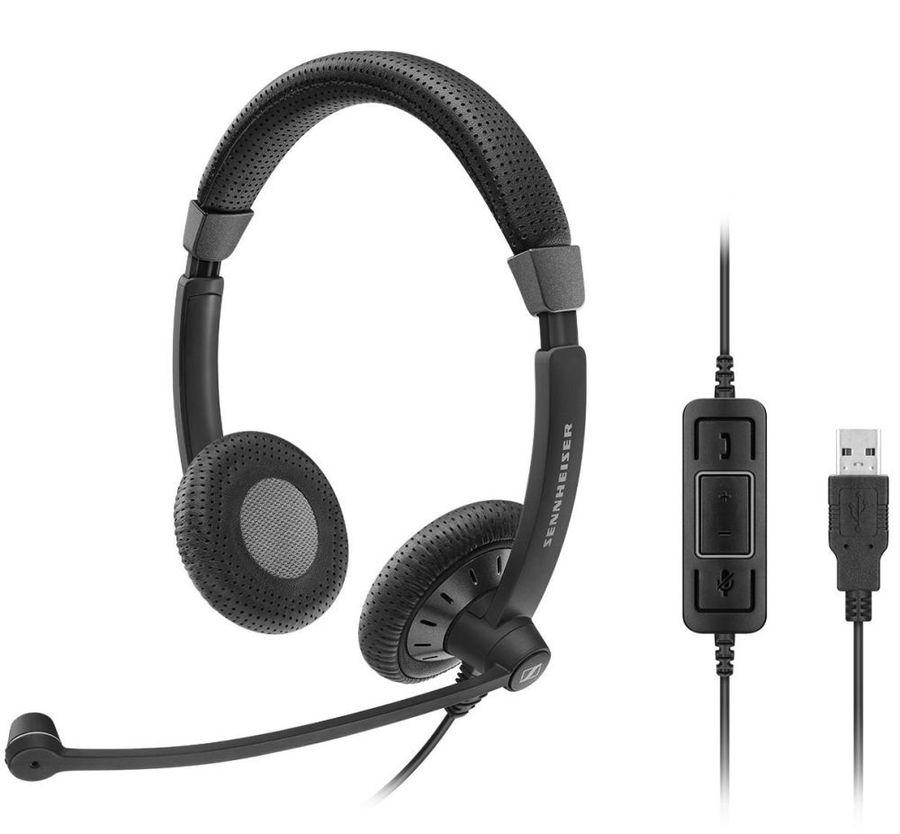 Гарнитура SENNHEISER SC 70 USB MS,  для контактных центров, накладные,  черный  [506502]