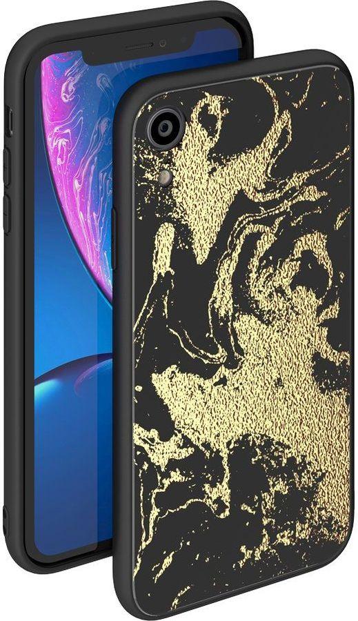 Чехол (клип-кейс) DEPPA Glass Case, для Apple iPhone XR, золотистый/черный [86511]