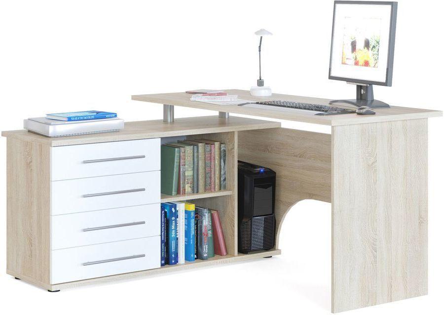 Стол компьютерный  СОКОЛ КСТ-109,  угловой,  ЛДСП,  дуб сонома и белый