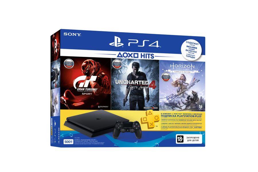 Игровая консоль PLAYSTATION 4 Slim с 500 ГБ памяти, играми Gran Turismo Sport, Uncharted 4, Horizon: Zero Dawn,  CUH-2208A, черный