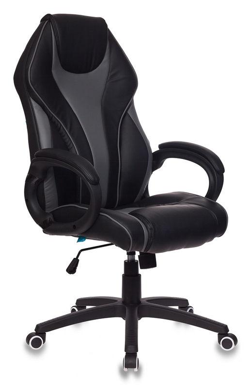 Кресло руководителя БЮРОКРАТ T-702, на колесиках, искусственная кожа [t-702/bl+grey]