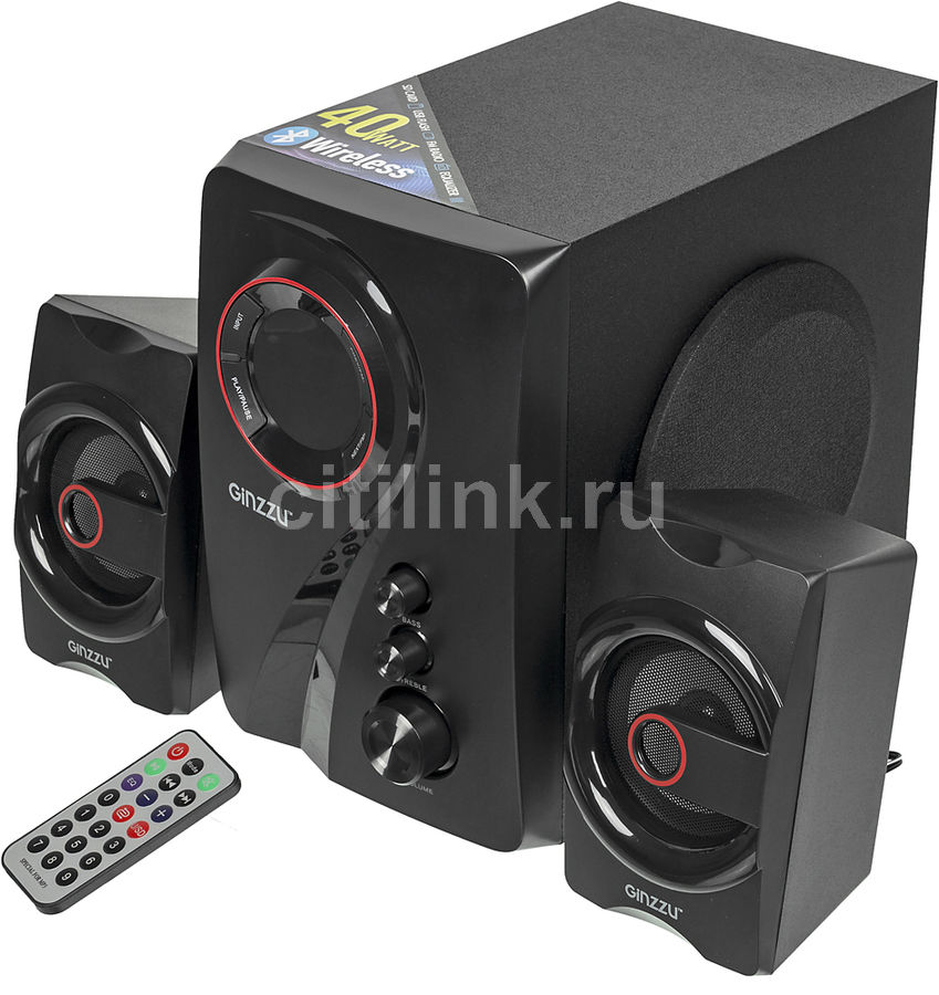 Колонки Bluetooth GINZZU GM-406,  2.1,  черный/ красный