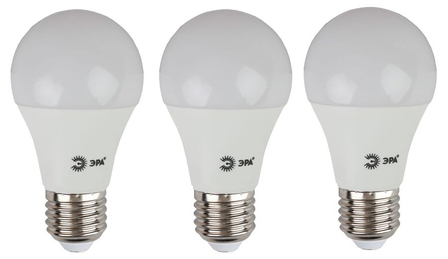 Лампа ЭРА A60-10W-840-E27, 10Вт, 800lm, 25000ч,  4000К, E27,  3 шт. [б0028005]