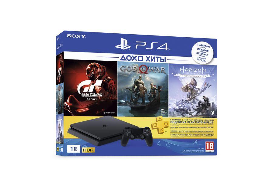 Игровая консоль SONY PlayStation 4 Slim с 1 ТБ памяти, играми Gran Turismo Sport, God of War, Horizon: Zero Dawn и подпиской PlayStation Plus на 3 месяца,  CUH-2208B, черный