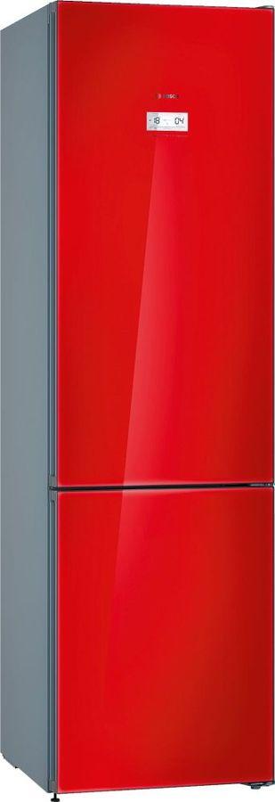 Холодильник BOSCH KGN39LR31R,  двухкамерный, красное стекло/серебристый металлик