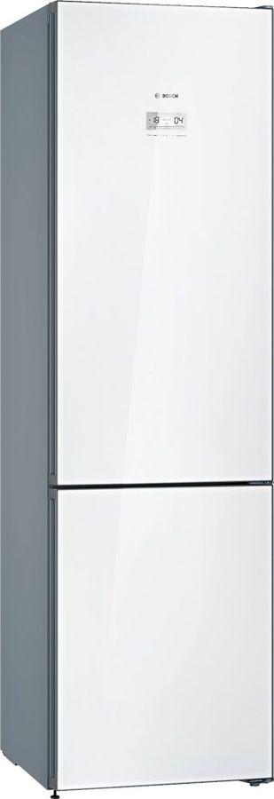Холодильник BOSCH KGN39LW31R,  двухкамерный, белое стекло/серебристый металлик