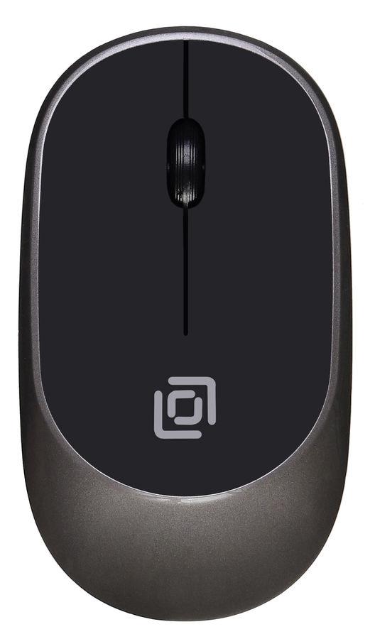 Мышь OKLICK 535MW, оптическая, беспроводная, USB, черный и серый