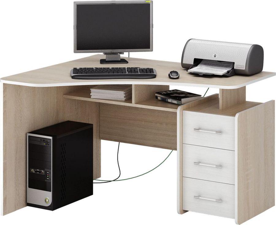 Стол компьютерный  МАСТЕР Триан-5 левый угол,  угловой,  ЛДСП,  дуб сонома и белый