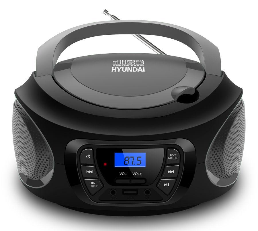 Аудиомагнитола HYUNDAI H-PCD380,  черный и серый