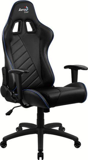 Кресло игровое AEROCOOL AС110 AIR, на колесиках, ткань дышащая, черный/синий [aс110 black blue]