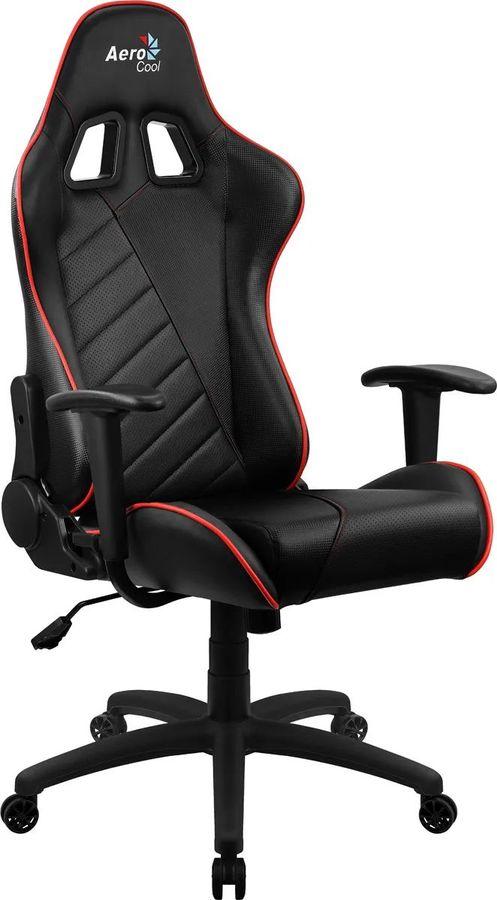 Кресло игровое AEROCOOL AС110 AIR, на колесиках, ткань дышащая, черный/красный [aс110  black red]