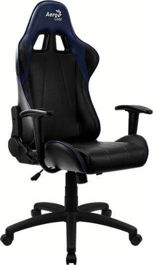 Кресло игровое AEROCOOL AС100 AIR, на колесиках, ПВХ/полиуретан, черный/синий [aс100  black blue]