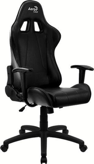 Кресло игровое AEROCOOL AС100 AIR, на колесиках, ПВХ/полиуретан, черный [aс100 black]