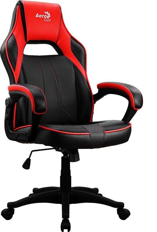 Кресло игровое AEROCOOL AС40C AIR, на колесиках, полиуретан, черный/красный [aс40c  black red]