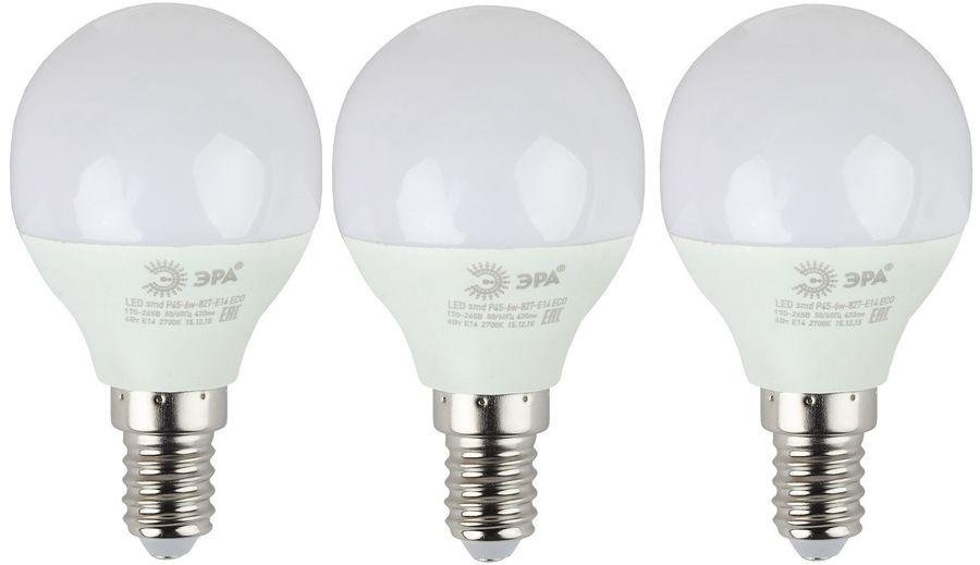 Лампа ЭРА Р45-6W-827-E14, 6Вт, 480lm, 25000ч,  2700К, E14,  3 шт. [б0020626]
