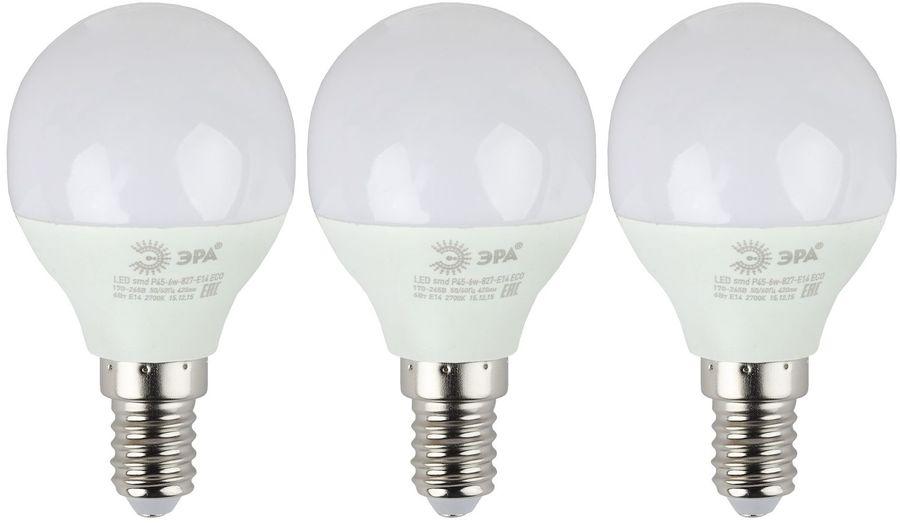 Лампа ЭРА Р45-6W-840-E14, 6Вт, 480lm, 25000ч,  4000К, E14,  3 шт. [б0020628]