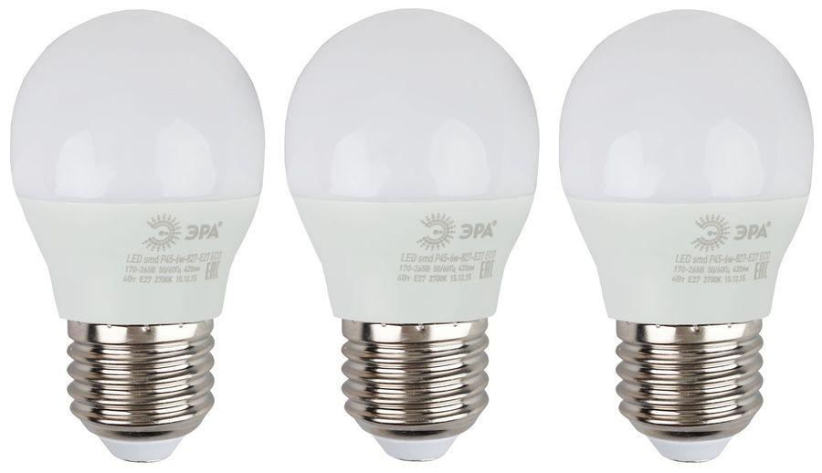 Лампа ЭРА Р45-6W-827-E27, 6Вт, 480lm, 25000ч,  2700К, E27,  3 шт. [б0020629]