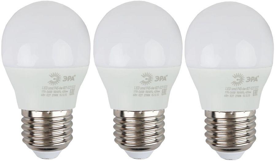 Лампа ЭРА Р45-6W-840-E27, 6Вт, 480lm, 25000ч,  4000К, E27,  3 шт. [б0020630]