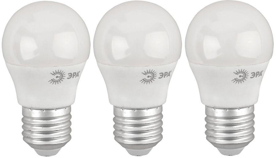 Лампа ЭРА P45-8W-840-E27, 8Вт, 640lm, 25000ч,  4000К, E27,  3 шт. [б0030025]
