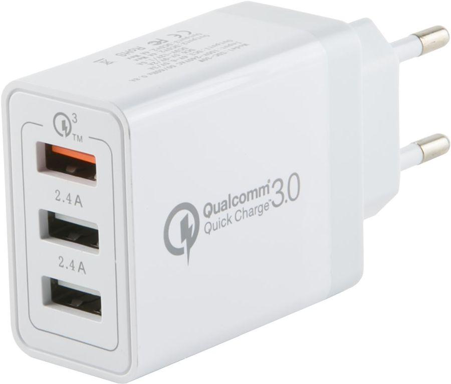 Сетевое зарядное устройство REDLINE NQC-3A,  3xUSB,  3A,  белый