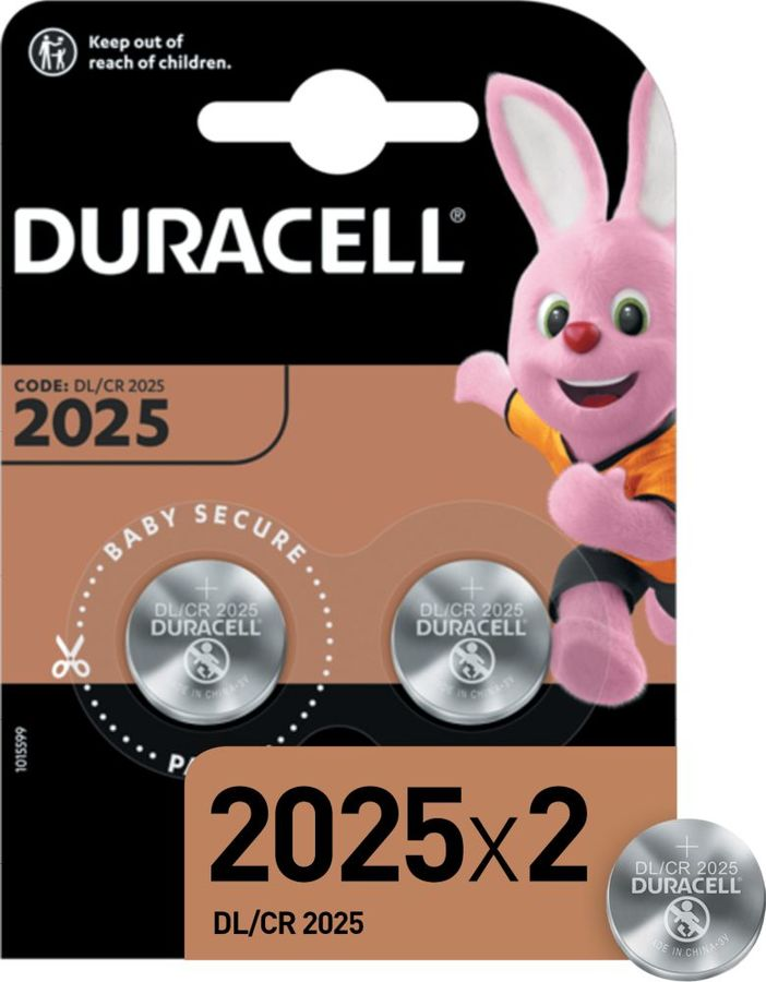 CR2025 Батарейка DURACELL DL/CR2025,  2 шт.