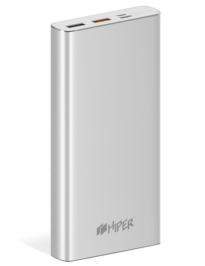 Внешний аккумулятор (Power Bank) HIPER MPX15000,  15000мAч,  серебристый [mpx15000 silver]