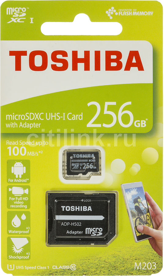Карта памяти microSDXC UHS-I TOSHIBA M203 256 ГБ, 100 МБ/с, Class 10, THN-M203K2560EA,  1 шт., переходник SD