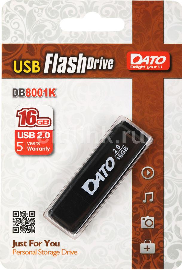 Флешка USB DATO DB8001 16Гб, USB2.0, черный [db8001k-16g]