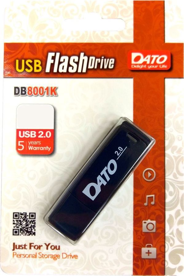 Флешка USB DATO DB8001 32Гб, USB2.0, черный [db8001k-32g]