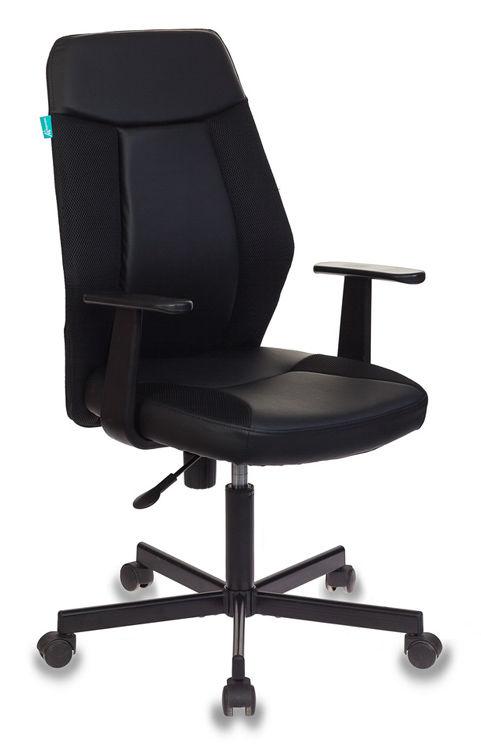 Кресло БЮРОКРАТ CH-606, на колесиках, искусственная кожа/ткань [ch-606/bl+tw-11]