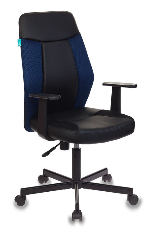 Кресло БЮРОКРАТ CH-606, на колесиках, искусственная кожа/ткань [ch-606/bl+tw-10n]