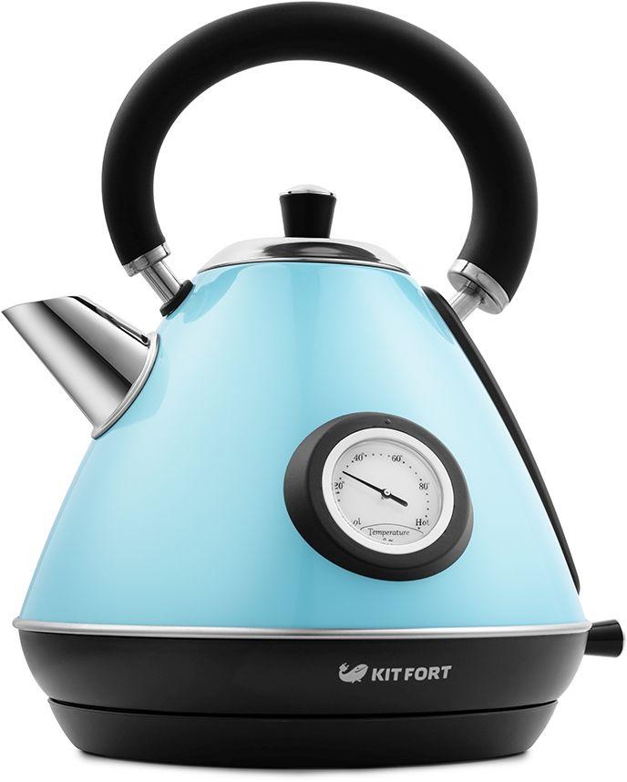 Чайник электрический KITFORT КТ-644-1, 2200Вт, голубой и черный