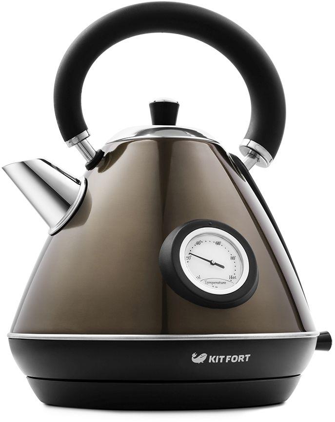 Чайник электрический KITFORT КТ-644-2, 2200Вт, бронзовый и черный