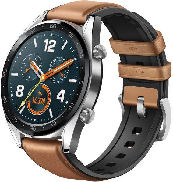 "Смарт-часы HUAWEI Watch GT Classic FTN-B19,  1.4"",  серый / коричневый [55023210]"
