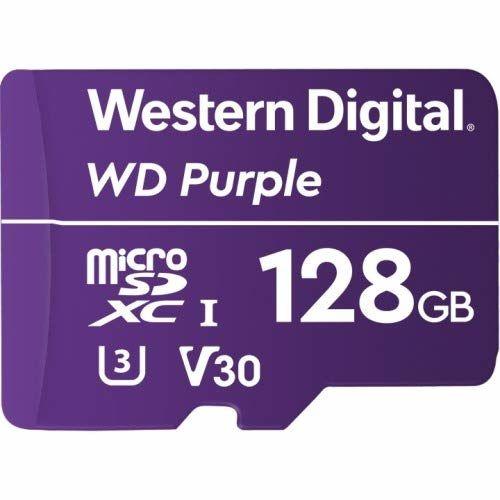 Карта памяти microSDXC UHS-I U3 WD Purple 128 ГБ, 100 МБ/с, Class 10, WDD128G1P0A,  1 шт.
