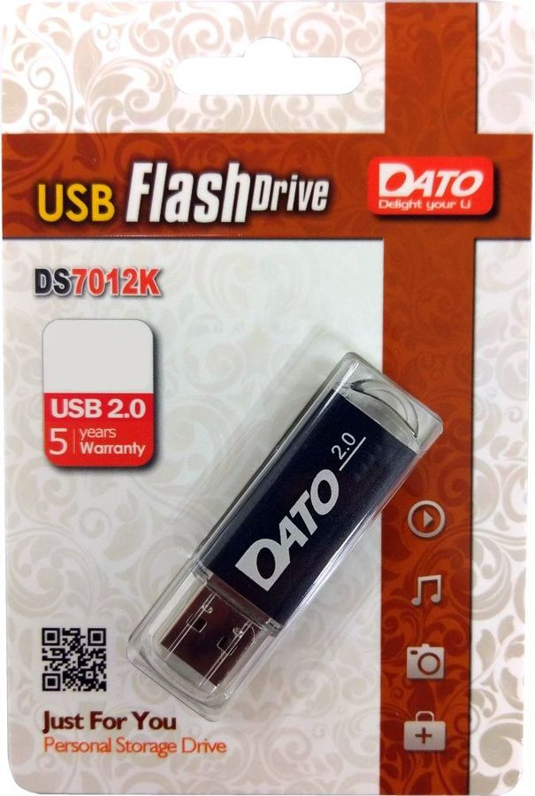 Флешка USB DATO DS7012 16Гб, USB2.0, черный [ds7012k-16g]