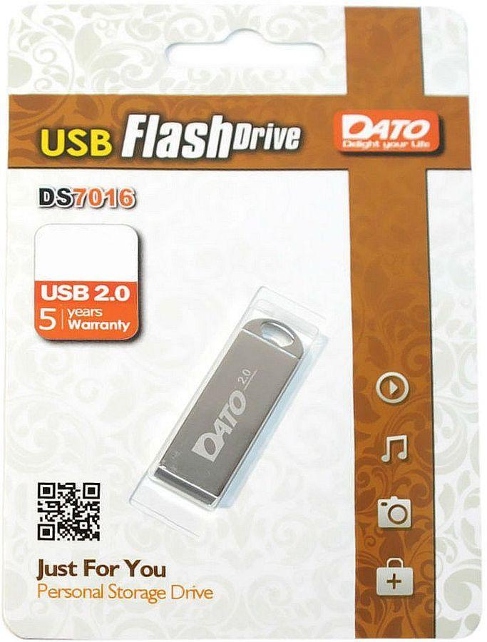 Флешка USB DATO DS7016 8Гб, USB2.0, серебристый [ds7016-08g]